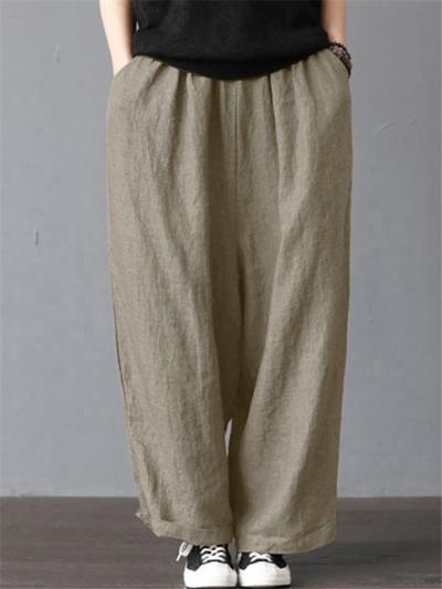 Soft Touch Cotton Linen Side Slit Pocket Wide-Leg Breezy Ankle Pants