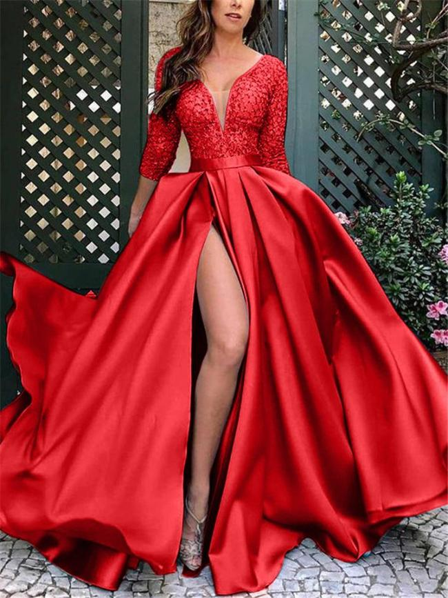 Flowing Low V Neck Half Sleeve Thigh High Slit Dress for Prom