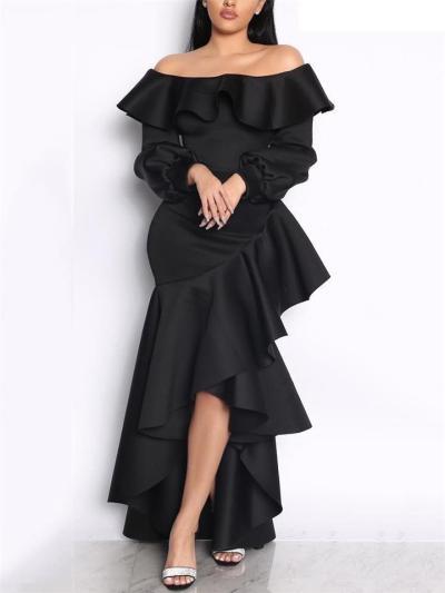 Stunning Off Shoulder Asymmetric Design Ruffle Hem Dress for Evening