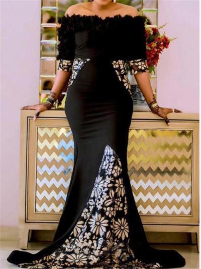 Elegant Off Shoulder Floral Printed Half Sleeve Trumpet Dress for Prom