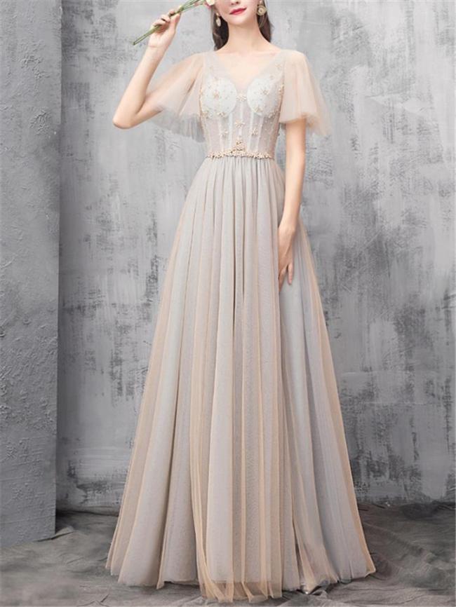 Elegant Fitted Waist V Neck Cap Sleeve Mesh Dress for Prom