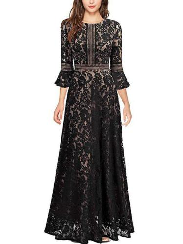 Gorgeous Fitted Waist Flared Sleeve Floral Lace Dress for Evening