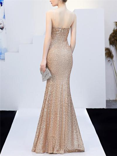 Exquisite Sequined Wrap Neck High Slit Dress for Evening