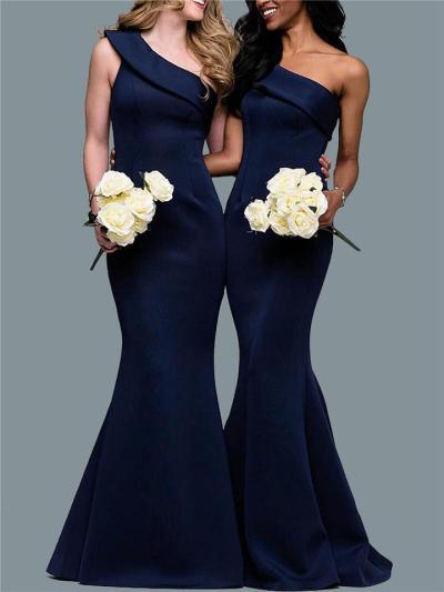 Flattering One Shoulder Solid Color Mermaid Dress for Wedding