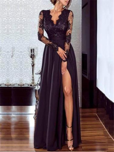 Exquisite Fitted Waist Embroidery High Slit Dress for Prom