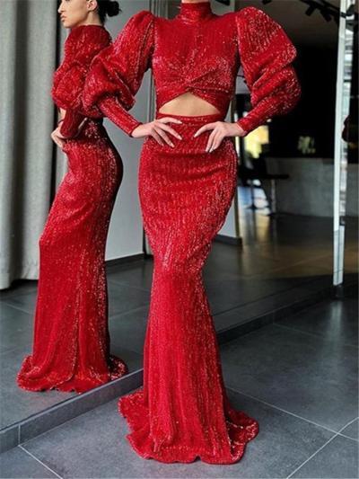 Stunning High Neck Cutout Design Maxi Dress for Prom
