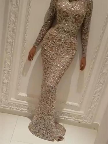 Sexy Shiny Long Sleeve Sweep Train Mermaid Dress for Prom