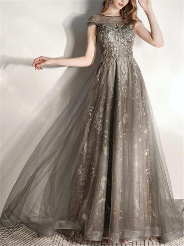 Flowing Fitted Waist Applique Tulle A Line Dress for Prom