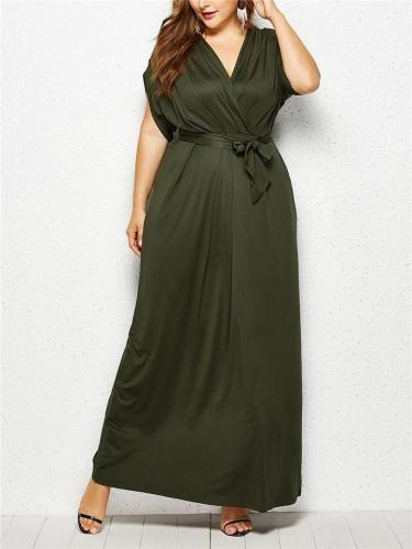 Flattering Wrap Neck Waist Tie Ruched Dress for Evening Party