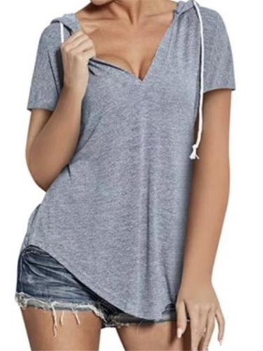 Laid-Back V Neck Asymmetric Hem Short Sleeve Drawstring Hooded Tops