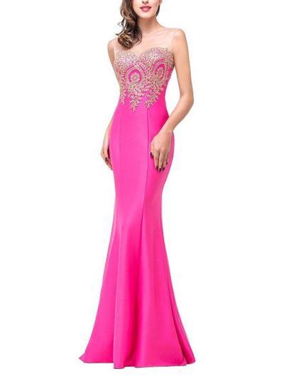 Gorgeous Applique Round Neck Sleeveless Mermaid Maxi Dress for Prom
