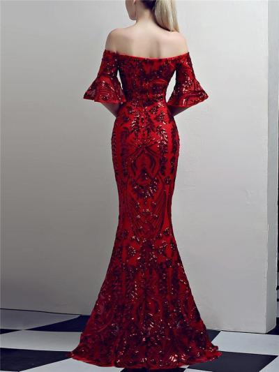 Exquisite Sequined Off Shoulder Trumpet Dress for Evening