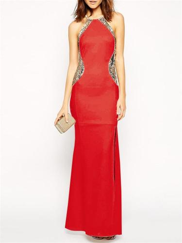 Shimmering Sequined Halter Neck Side Slit Dress for Prom
