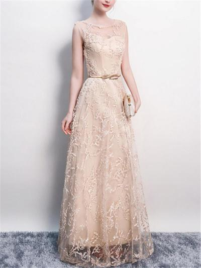Flattering Illusion Neck Applique Fitted Waist A Line Dress for Prom