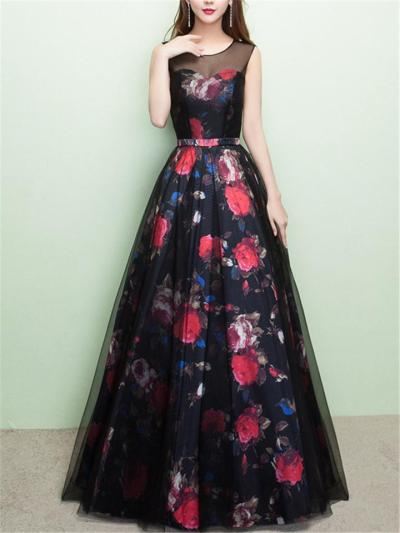 Dreamy Floral Print Illusion Neck Mesh Dress for Formal Party