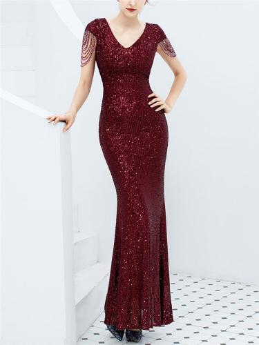 Stunning Sequined V Neck Mermaid Dress for Evening Party