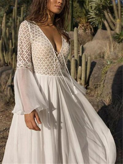Pretty Sexy Front Lace Bell Sleeve Pleated Dress for Prom
