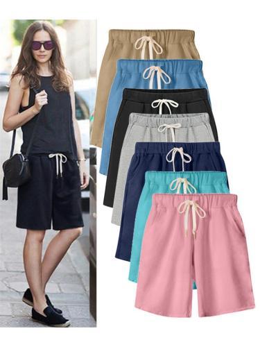 Soft Cotton Straight Silhouette Drawstring Side Pocket Thigh-Length Basic Shorts