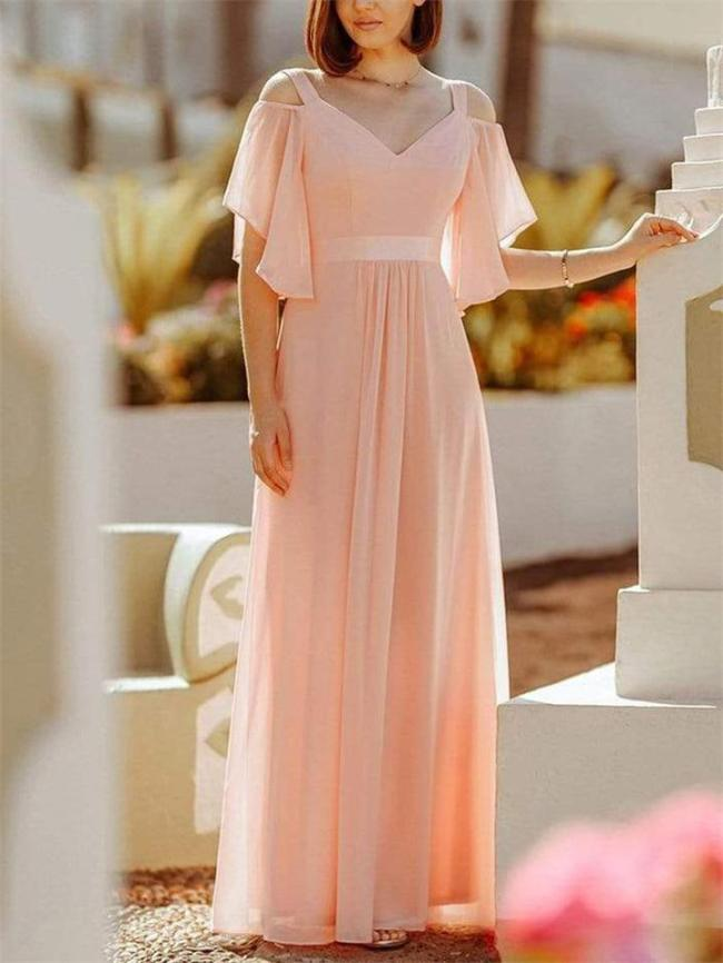 Pretty Off Shoulder V-Neck Maxi Evening Gown Dress with Ruffle Sleeves