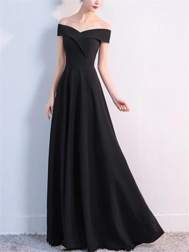 Flowing Off Shoulder Fitted Waist Maxi Dress for Evening