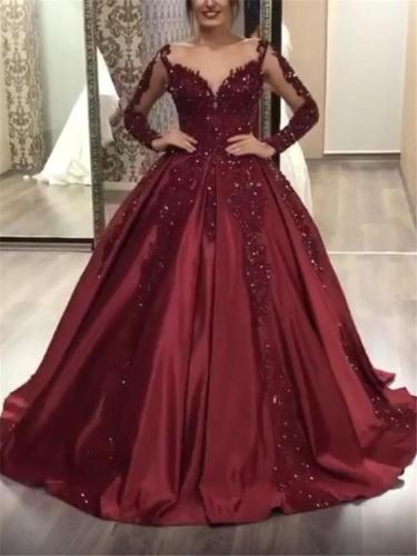 Gorgeous Sweep Train Long Sleeve V Neck Embroidered Mesh Gown