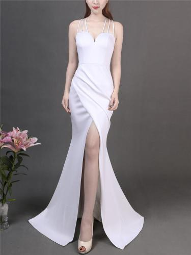 Exquisite Sweetheart Neckline Fitted Waist High Slit Dress for Evening