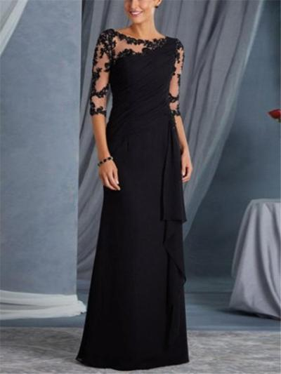 Pretty Applique Ruched Designed Lace Maxi Dress for Evening Party