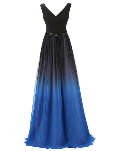 Gorgeous Chiffon Gradient Ombre Long Evening Prom Gown for Evening