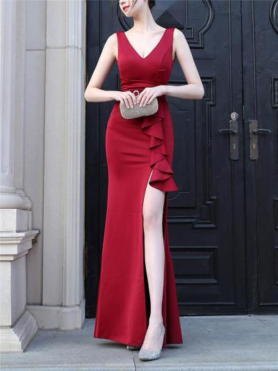 Sexy Pretty Ruched Ruffle Detail Side Slit Dress for Evening