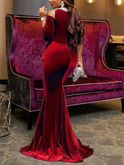 Gorgeous Shoulder Cutout Fitted Waist Half Sleeve Dress for Prom