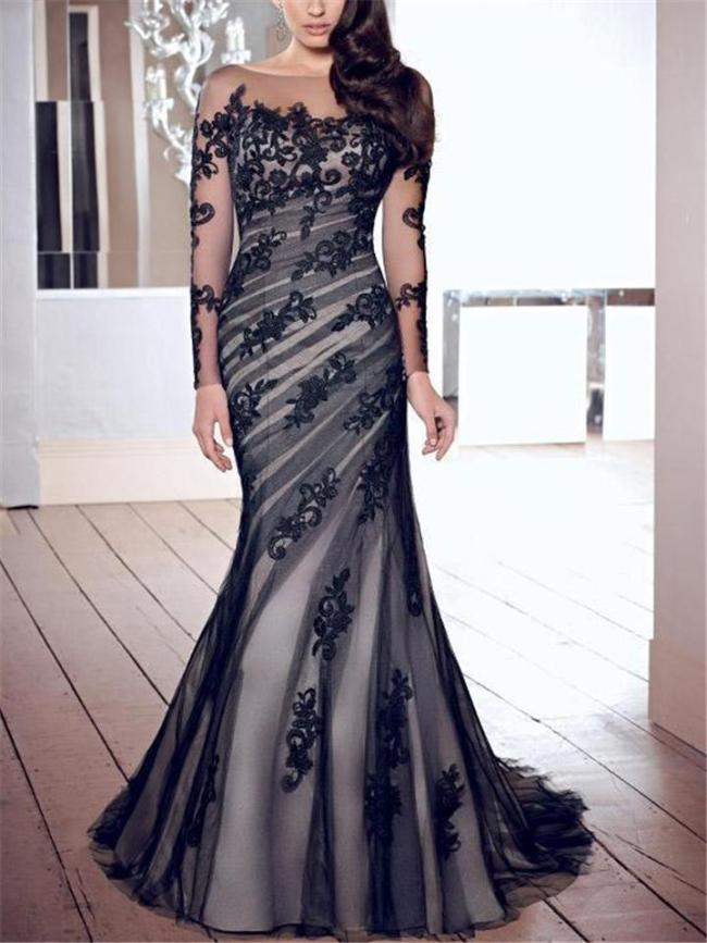 Stunning Illusion Neck Applique Mermaid Sweep Train Dress for Formal Party