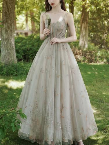 Dreamy Fairytale Beaded Spaghetti Strap Fitted Waist Dress for Party