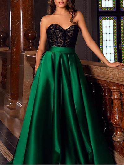 Ladies' Black and Green Lace Patchwork High Split Evening Maxi Evening Gown