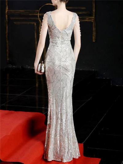 Gorgeous V Neck Sequined Backless High Slit Dress for Evening