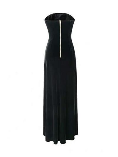 Gorgeous Strapless Thigh High Slit Black Velvet Maxi Gown for Evening