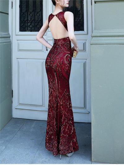 Stunning Backless Sequined Mermaid Dress for Evening