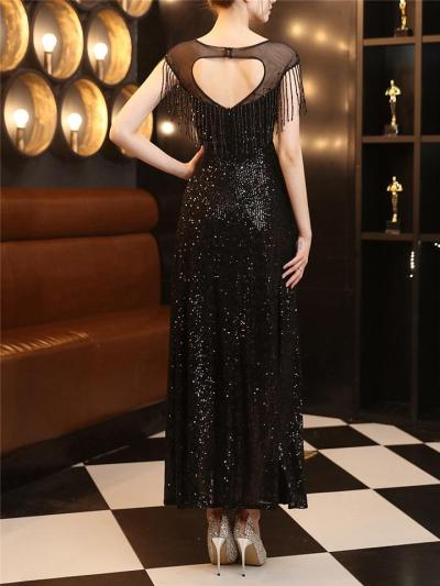 Elegant Illusion Neck Beaded Sequined Dress for Evening Party
