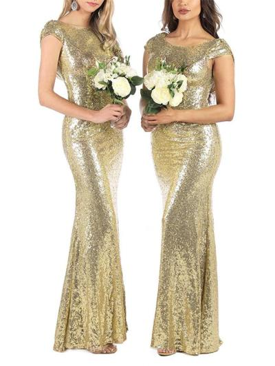 Shiny Sequined Backless Mermaid Dress for Formal Party