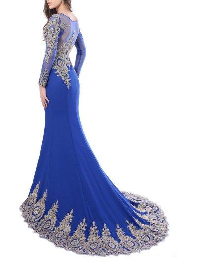Decent Scoop Neck Applique Long Sleeve Mermaid Dress for Prom
