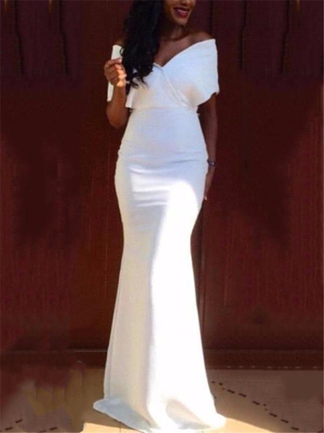 Pretty White Wrap Neck Off Shoulder Trumpet Maxi Dress for Prom