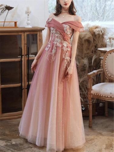 Glamorous Off Shoulder Applique Beaded A Line Dress for Prom