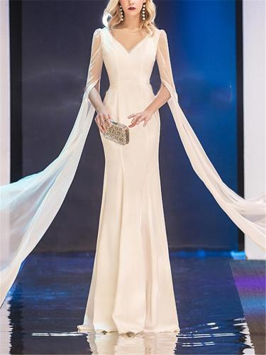 Elegant V Neck Fitted Waist Trumpet Maxi Dress for Evening Party
