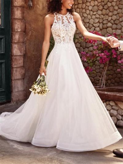 Elegant Floral Round Neck A Line Lace Dress for Wedding