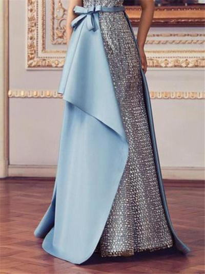 Shimmering Low V Neck Fitted Waist Front Knotted Dress for Prom