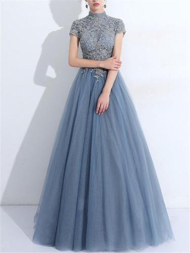 Gorgeous Applique Back Cutout Lace Ball Gown for Prom