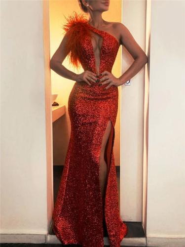 Shimmering One Shoulder Thigh High Slit Maxi Dress for Prom