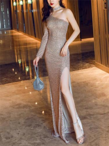 Shimmery Sequined Thigh High Slit Dress for Evening Party