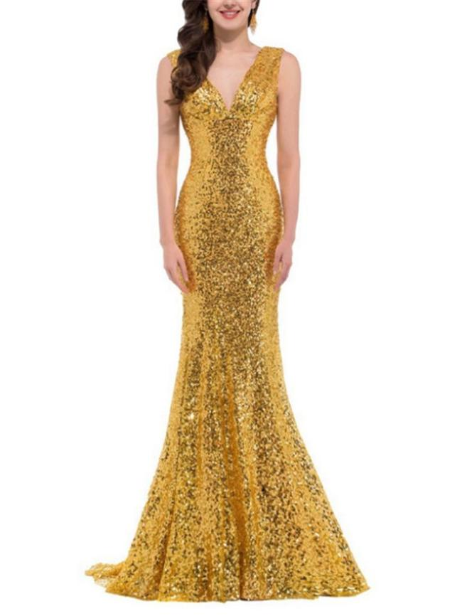 Elegant Sequined V Neck Sweep Train Mermaid Dress for Evening Party