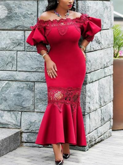 Stunning Off Shoulder Bell Sleeve Mermaid Dress for Prom