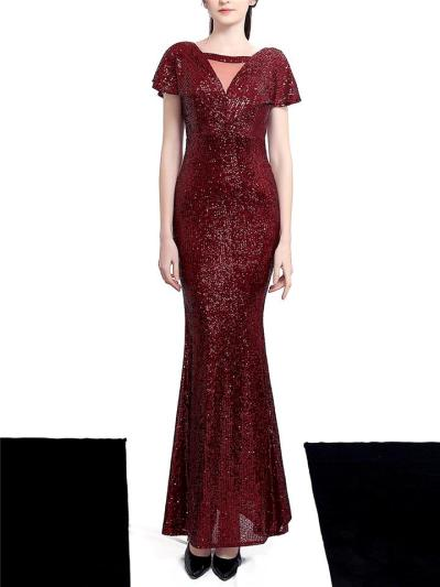 Shimmering Sequined Backless Maxi Dress for Evening